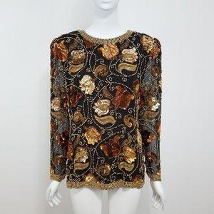 {Vintage} Black Gold Bead Sequin Blouse